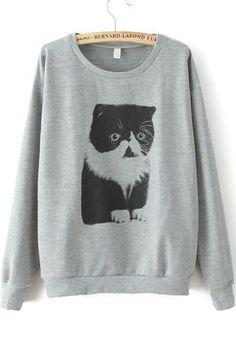 Grey Long Sleeve Cat Sweatshirt 17.67 http://www.sheinside.com/