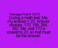 Teenager post. Math tests