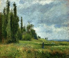 A part of Groettes, Pontoise, Gray Weather - Camille Pissarro ...