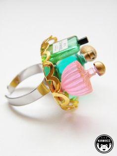 Perfume Bottles Ring by alphabetsuitcase on Etsy, £4.00