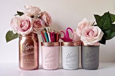 Dorm decor / office storage / mason jars / copper pink gray / utensil holder / desk decor / college / rose gold / painted mason jar,Dorm Decor Pink Copper Gold Mint Cream Painted by BeachBlues. Dorms Decor, Dorm Room Decorations, Diy Room Decor For College, Wedding Decorations, Diy Dorm Decor, Wedding Ideas, Diy Room Decor For Teens, Diy For Room, Diy Room Decor Tumblr