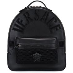 Versace embossed logo backpack (154.435 RUB) ❤ liked on Polyvore featuring bags, backpacks, black, leather daypack, leather zipper bag, leather backpack, zip top bag and versace bags