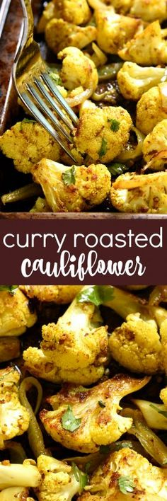This Curry Roasted Cauliflower is a curry lover's dream! Fresh cauliflower p… This Curry Roasted Cauliflower is a curry lover's dream! Fresh cauliflower packed with delicious curry flavor and roasted to perfection. I bet you can't eat just one! Healthy Side Dishes, Vegetable Side Dishes, Side Dish Recipes, Vegetable Recipes, Curry Recipes, Vegetarian Recipes, Healthy Recipes, Shrimp Recipes, Vegan Vegetarian