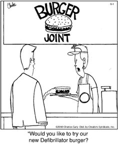 Working it out:    Defibrillator burger!