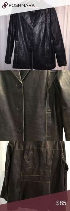 """#357L. DARK BROWN GENUINE LEATHER I'm in the MIDDLE CONUNDRUM! I'm 5' TALL. This JACKET/ COAT is ONE OR THE OTHER. It totally DEPENDS ON YOUR HEIGHT. ON ME, IT'S A 3/4 COAT. My friend is 5'9"""". ON HER IT IS A JACKET!  This is a THIS WAS MADE OUT A BEAUTIFUL, HEAVY DUTY PIECE OF LEATHER! The BROWN LESTHER IS SUPER DARK, I loved that! It's been WORN ABOUT 3 or 4 TIMES! IT'S TOOOO WARM FOR ME AND I'M NOT THIS SIZE! You won't be disappointed!! The color MISSINO Jackets & Coats"""