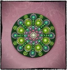 Elspeth McLean - Mini Original Round Painting- Jewel Drop Mandala- Sumblime Lime with Pretty Purples via Etsy. Dot Art Painting, Pebble Painting, Pebble Art, Stone Painting, Mandala Painted Rocks, Mandala Rocks, Painted Stones, Mandala Rug, Mandalas Painting
