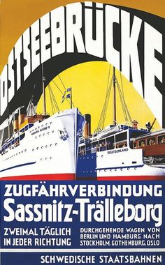Vintage Swedish Postcard Train Ferry Poster Art ship sweden railroad german old Travel Ads, Bus Travel, Travel And Tourism, Oslo, Stockholm, Tourism Poster, Poster Ads, Berlin, Sweden