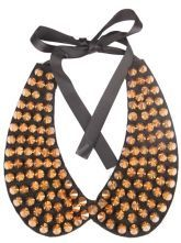 Gold Rivet Black Collar Ribbon Necklace $12.1