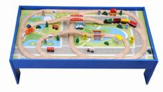 Wooka Wooden Train Set with Table 100 pcs Train and Track Table Toys ...