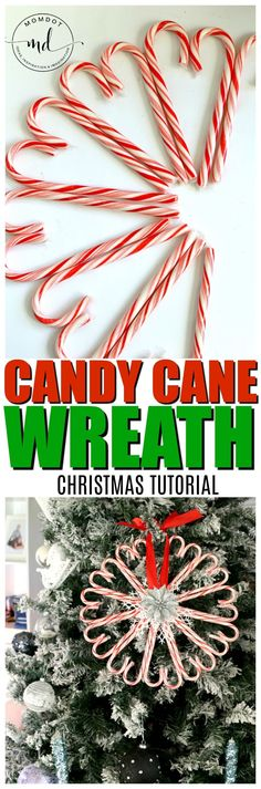 Candy Cane Wreath Tutorial | Candy Cane DIY with Step by Step instructions for this awesome and inexpensive Christmas Craft