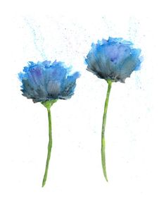 Watercolor painting, watercolor flowers, flower art, flower painting, abstract flowers, watercolor poppies, flower print, blue, 8X10 print on Etsy, $20.00