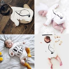 Funny Baby Long Sleeve Romper.  Cool letter print of frontage, vivid foxtail print behind.Much more fun where baby try it on, baby will surely heart it!!