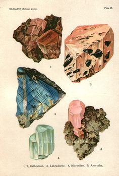 Vintage 1922 Minerals Print Antique Gems by VintageInclination