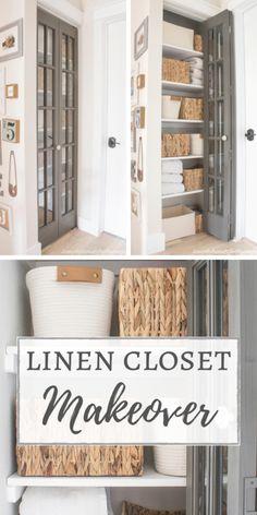 Small Linen Closets, Bathroom Linen Closet, Hallway Closet, Linen Closet Organization, Diy Storage Closet, Laundry Closet Makeover, Linen Storage, Small Hallways, Diy Home Decor