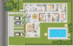 Piscinas Lindas y Modernas en Fotos: Plano de Casa Con Piscina