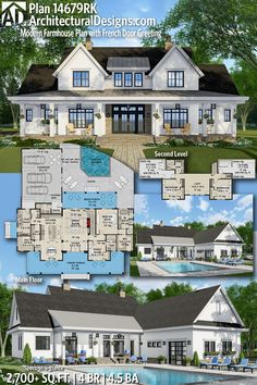 Modern Farmhouse Plan with French Door Greeting Architectural Designs Farmhouse House Plan gives you 4 bedrooms, baths and sq. Where do YOU want to build?Architectural Designs Farmhouse House Plan gives you 4 bedrooms, ba. New House Plans, Dream House Plans, My Dream Home, Dream Houses, House Plans With Pool, 5 Bedroom House Plans, Family Home Plans, 2200 Sq Ft House Plans, House Design Plans