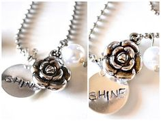 Wear your shine. 24'' ball-chain. Comes with pearl. Please let me know if you want a circle or square charm in the notes.