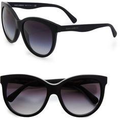 Dolce & Gabbana Black Oversized CatsEye Acetate Sunglasses