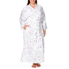 La Cera Women's Plus Size Tone-on-Tone Striped and Floral Robe