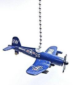 HW Diecast Airplanes & Aircraft FAN PULL / LIGHT PULL (USN Corsair Airplane (Navy Blue))