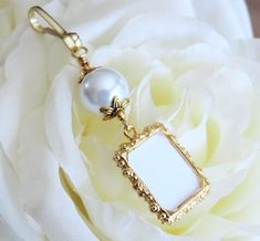 Wedding Bouquet Charms, Wedding Bouquets, Thoughtful Bridal Shower Gifts, Ivory Pearl, Blue Ivory, Pew Decorations, Small Picture Frames, Photo Charms, Wedding Keepsakes