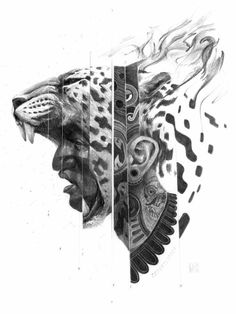 "Eduardo Flores, a Mexican artist that goes by the moniker ""Bayo,"" crafts pencil drawings that are both vivid and mythological in content. These intricate pieces are filled with both symbolism and c… Jaguar Tattoo, Aztec Warrior Tattoo, Warrior Tattoos, Pencil Drawings, Art Drawings, Drawing Faces, Mayan Tattoos, Polynesian Tattoos, Tattoo Collection"