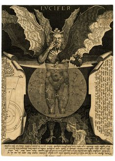"LUCIFER. The Devil at centre, with three faces and three pairs of wings, standing in a pool and devouring a damned soul, against dark background. Titled in top centre: ""LVCIFER"". Lettered extensively around image with excerpts of Dante's Divina Comedia.Engraving made by Cornelis Galle I, After Lodovico Cigoli, Belgium, 1591-1650."