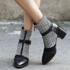 3bf2d04f75 A| Daily Zipper Pointed Toe Buckle Chunky Boots