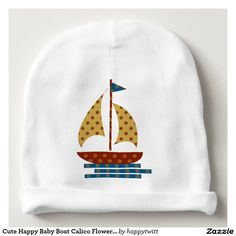 Cute Happy Baby Boat Calico Flower Pattern Baby Beanie