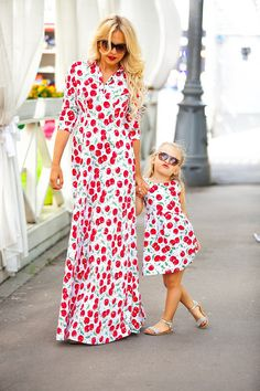 Beautiful summer matching dresses for mother and daughter with bright cherry print. The dresses have linings. The color of buttons can vary. Price is shown for a set of 2 dresses - moms and daughters. Material - rayon Please check the size guide to select the right sizes. PLEASE NOTE: The fabric from the main photo is out of stock already. We added a photo of the fabric which is available now for this model (see the last image). You also can contact us if you need some special fabric…
