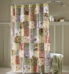 Blooming Prairie Shower Curtain- looks like a quilted curtain