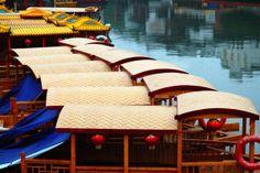 Line of boats - Qinhuai river Nanjing, Opera House, River, Building, Boats, Ships, Buildings, Construction, Rivers