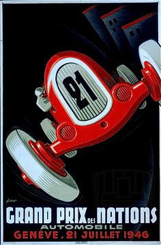 Grand Prix Car Red Fashion #21 Race 1946 Nations Vintage Poster Repro FREE SH