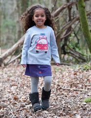This plum coloured cord skirt is gorgeous to go with any Frugi top, leggings or cardigans. It has multicoloured buttons on the front and is in a really soft snuggly fabric to keep the little ones walm. Ideal for winter walks, autumn picnics and adventures to the park and general day to day use.Frugi is brilliant as there are no nasty chemicals used on the fabric so it keeps the material pure and for your children's skin.It's hard wearing and lasts longer.Organic Cotton
