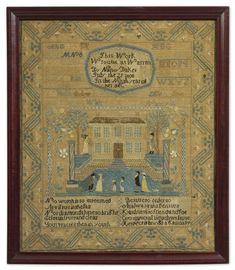 Nancy Baker - Warren, Rhode Island - 1803. Aged 9. Silk on linen. Betty Ring collection.  Sold for 18,750 USD