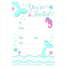 10 Best Mermaid Party Invitations Images In 2019 Mermaid Party