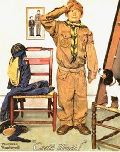 Cub scout into Boy Scout by  Norman Rockwell