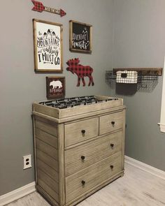These are the colors I want! Baby Bedroom, Baby Boy Rooms, Baby Boy Nurseries, Nursery Room, Moose Nursery, Woodland Nursery, Nursery Decor, Boy Nursery Themes, Nursery Ideas