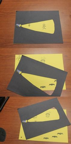 Here is a flashlight craft using black and yellow construction paper and a paper fastener. Here is a flashlight craft using black and yellow construction paper and a paper fastener. Projects For Kids, Diy For Kids, Cool Kids, Crafts For Kids, Kids Fun, Art Projects, Detective Crafts, Grande Section, Teaching Art