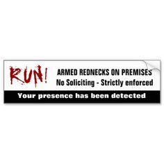 Funny Redneck No Soliciting Sign Bumper Stickers