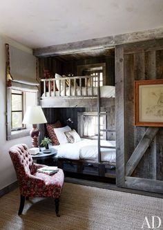 We know you love built-in bunk beds and these, from a Big Sky, Montana lodge, are partially sheathed in reclaimed corral boards. By Markham Roberts Design.