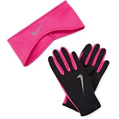 Nike Therma-FIT Fleece Running Headband and Glove Set ($27) ❤ liked on Polyvore featuring accessories, hair accessories, nike hairband, head wrap headband, nike headband, headband hair accessories and nike