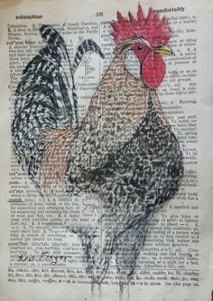 Rooster painting on dictionary page.