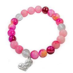Náramek Sweetness Překrásný náramek z růžového jadeitu, růžovo-oranžového jadeitu, fuchsiového achátu a křišťálu s přívěškem srdíčko. Beaded Necklace, Beaded Bracelets, Jewelry, Rocks, Jewels, Jewerly, Beaded Collar, Jewlery, Pearl Necklace