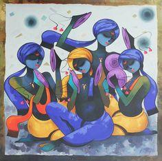 Buy Indian Contemporary Art Online From Art Gallery, Mumbai, India. Rose Oil Painting, India Painting, Silk Painting, Rajasthani Painting, Rajasthani Art, African Art Paintings, Modern Art Paintings, Krishna Painting, Krishna Art