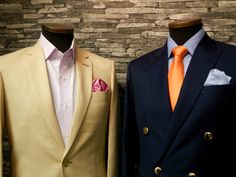 Light linen suit and double breasted navy suits for summer. Source http://www.raatalistudio.fi/