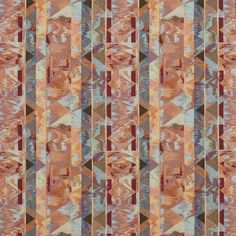Aqua and Coral Abstract  Tapestry Upholstery Fabric