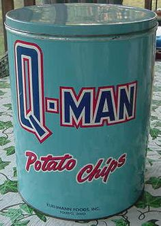 """Q-Man """"Superhero can"""" Rare Antique and Vintage Bright Blue with Bold Graphics Potato Chips Tin"""