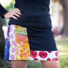 Mix up colors and patterns to make a cute and simple DIY Patched Skirt.