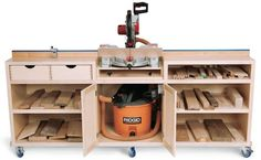 Chopsaw table/cabinet, make top the same height as table saw.